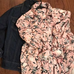 Topshop longsleeve floral shirt